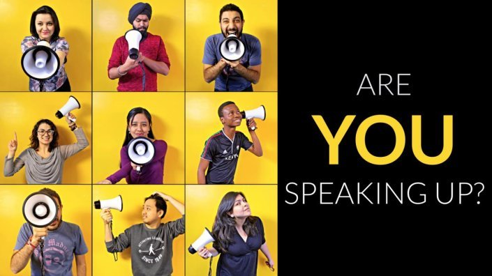 Are you speaking up for YouthSpeak? Young people with megaphones in their hand.