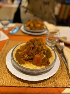 Trying local food on exchange to Morocco